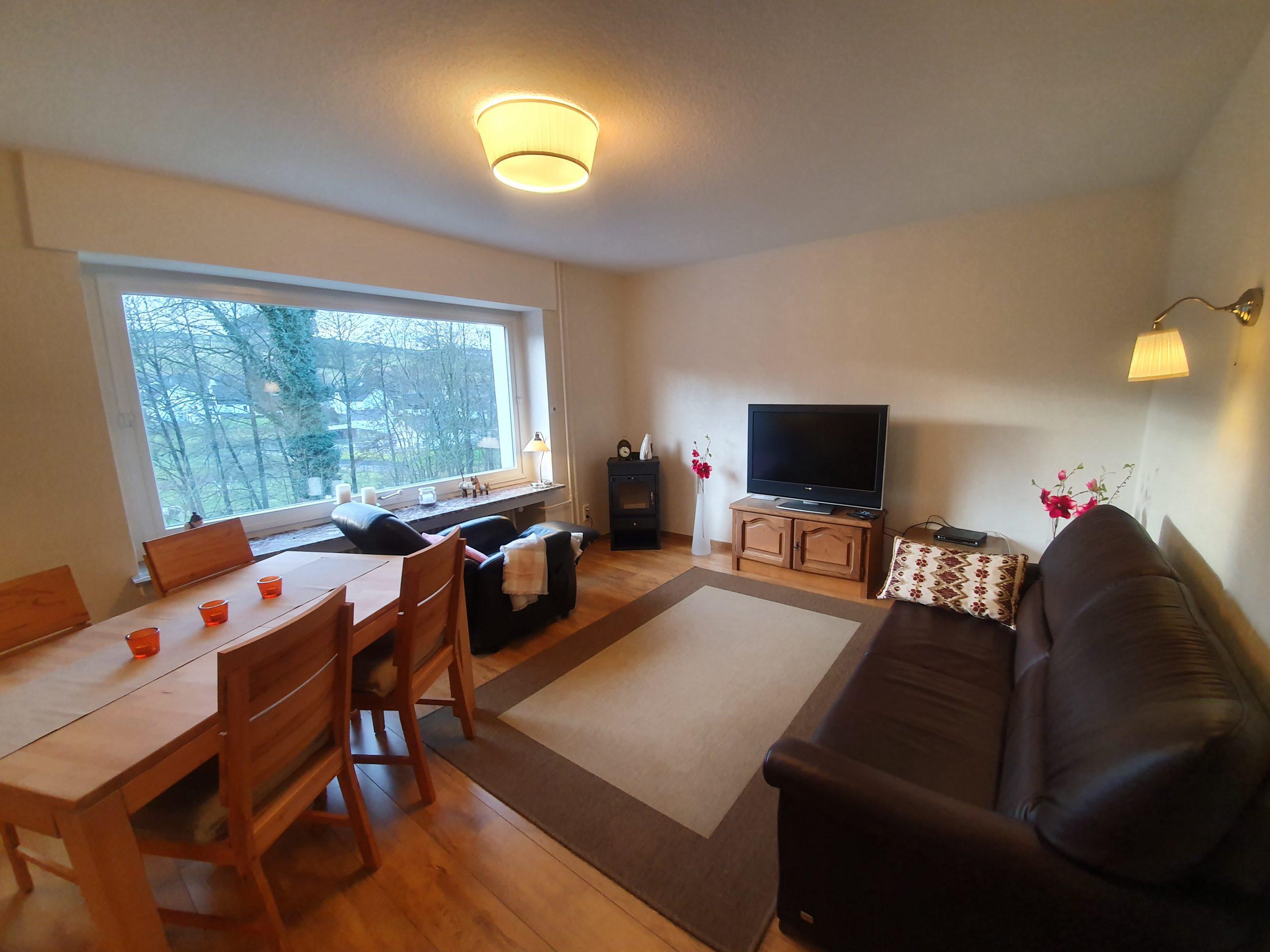 EG: Wohnzimmer mit ausziehbarer Schlafcouch